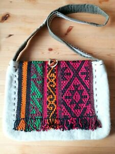 """Handmade Merino Wool Bag With Vintage Woven Tapestry Decor (16""""X12"""")"""