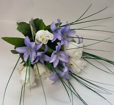 ARTIFICIAL FLOWERS MINI LILY AND ROSE BUNCH BLUE AND WHITE 43CM LONG 12 STEMS
