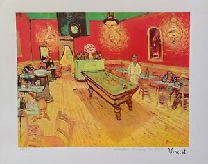 """Vincent Van Gogh NIGHT CAFE Estate Signed Limited Edition Giclee Art 13"""" x 17"""""""