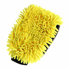 Car Cleaning Wax Detailing Brush Microfiber Chenille Auto Care Wash Gloves Yellow