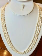 "3 Freshwater White Seed Pearl Strand Necklaces 30"" NEW Baroque gold plated beads"