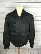 Men's River Island Leather Bomber Jacket - Large - Black - Great Condition
