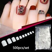 500Pcs White Toe Tips Flase Fake Nails for Nail Art Decoration Pedicure Tips