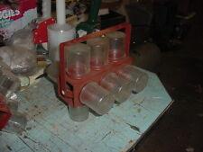 VINTAGE RED ROTATING UNDER CABINET STORAGE JAR ORGANIZER 12 JARS NUTS BOLTS +++
