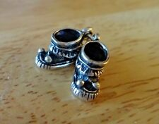 Sterling Silver 3D 15x15x7mm Movable Baby Booties Shoes Moccasins Pom Poms Charm