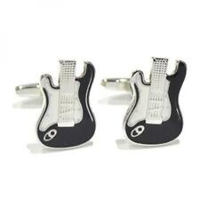Black and White Enamelled Electric Guitars Cufflinks Guitar Music Cuff Links New