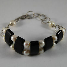 .925 RHODIUM SILVER BRACELET WITH BLACK ONYX AND WHITE PEARLS