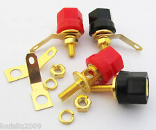 2x Hex Head Gold Speaker Binding Post Banana Jack 2099