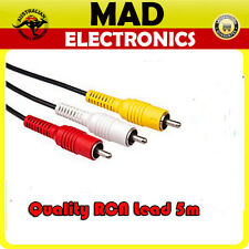 Quality 5m RCA Audio Video Cable Lead Yellow Red White Male to Male Plug