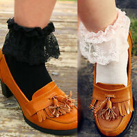 Vintage Lace Ruffle Frilly Ankle Cotton Socks Fashion Ladies Black White Pink