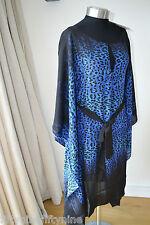 New GOTTEX Blue Leopard Print Silk Caftan/COVER UP Neiman Marcus Small £ 280