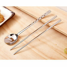 Korean Stainless Steel Spoon and Chopsticks Set Check Patten Tableware