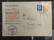 1939 Dillenburg Germany Cultural Office Cover To Frankfurt