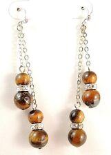 1 Tigers Eye Gemstone Platinum Plated Dangle Earrings & Rhinestones Beads #B145