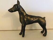 """Pewter Doberman Pinscher 2.5"""" Dog Figurine Vintage Signed"""