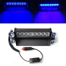8 LED Car Truck Police Blue Strobe Emergency 3 Flashing Light Flash Dash Lamp UK