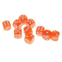 10x Pearlized Six Sided Spot Dices D6 Die for Party Bar Casino Game Orange