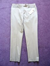 Michael Kors BNWT Beige slim ankle cropped tapered trousers w zip pockets UK 10