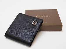 New Authentic Men's Gucci Ace Black Leather Bifold Wallet