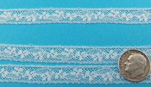"""French Heirloom Cotton Lace Insertion 3/8"""" White Fashion/Craft/Doll Lace 897"""