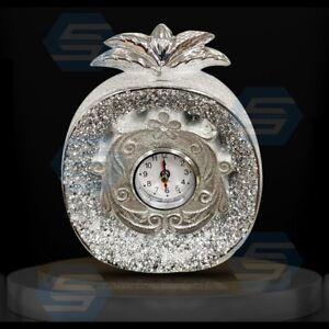 Silver Crushed Diamond Pineapple Shape Clock, Home Decor, Gift, Free Standing UK