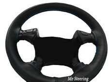 FOR FORD MUSTANG 4 94-04 REAL BLACK LEATHER STEERING WHEEL COVER SKY BLUE STITCH