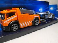 TOY BREAKDOWN TRUCK AND TRAILER RECOVERY TRUCK AND CAR ORANGE TOY TOW TRUCK