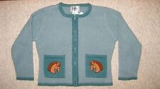 ~ New Millers Wool Sweater Cardigan w/ Horses Girls M Medium 6 / 6X Orig. $75