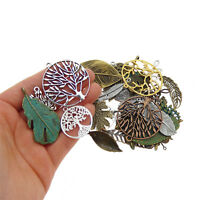 Lot of 10 Vintage Metal Alloy Leaf Shaped Pendants Mixed Kinds Jewelry Findings