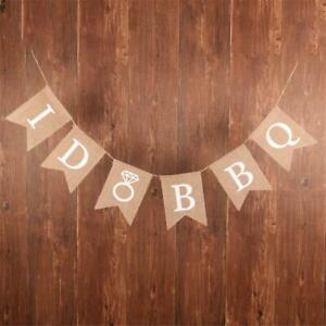 Jute  I Do BBQ Banner Bunting Flag Garland Engagement Party Photo Prop