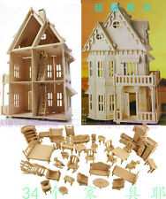 """wooden dollhouse 21""""doll wood house 6 rooms & furniture"""