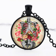 Flower Stuffed Skeleton Ribcage dome Black Cabochon Glass Necklace chain Pendant