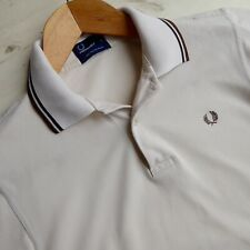 FRED PERRY Twin Tipped Polo Shirt 100% Cotton Pique Beige Brown Black S