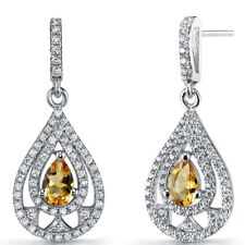 Citrine Chandelier Drop Earrings Sterling Silver 0.5 Carats