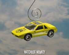 Yellow 1984 Pontiac Fiero 2M4 Custom Christmas Ornament 1/64 Adorno GT SE Sport
