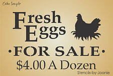STENCIL Fresh Eggs For Sale $4.00 Hen Nest Chicken Country Farm Yard Rd Signs