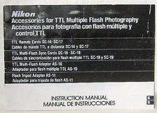 Nikon Accessories for Ttl Multiple Flash Photography Instruction Manual.