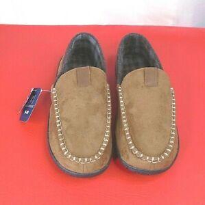 George Men's Slippers Hard Sole Fleece Interior Memory Foam Brown Size 9/10