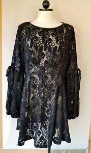 NWT FREE PEOPLE Women Black Lace Mini Dress Size Large $128