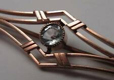 ANTIQUE VICTORIAN 9ct 9K 375 ROSE GOLD AQUAMARINE & SEED PEARL BROOCH PIN 4.3gms