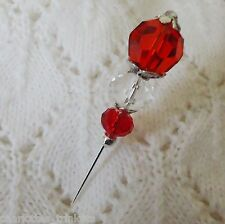 Red Faceted Crystal Bead HatPin w clutch ~ Hat Brooch Stick Pin - approx. 76mm