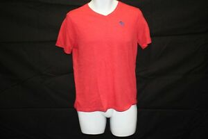 Kids ABERCROMBIE V-neck Pink Moose Logo Tee Shirt SZ XL