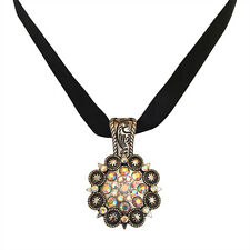 Concho Western Cowgirl Rodeo Bling Pendant with Rhinestones Necklace