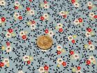 FULL Vintage feedsack: opened,  Blue with Red, Yellow and White Flowers