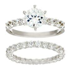 QVC Diamonique Ring Cubic Zirconia Round Cut 2-Piece 100-Facet Platinum Size 6