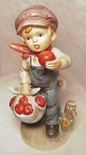 "Napcoware Napco Boy with Apples Figurine 7.5"" Tall - Very Good Condition #8796"