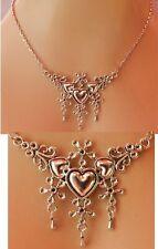 Heart Necklace Silver Pendant Hearts Jewelry Handmade NEW Fashion Women Chain