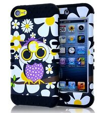 For iPod Touch 5th 6th Gen - HARD&SOFT RUBBER HYBRID CASE YELLOW FLOWER OWL BIRD
