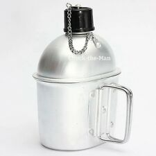 Military Aluminum Water Canteen with Cup G.I. Army Green Nylon Canteen Cover