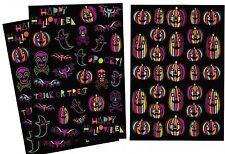 3 Sheets Halloween Stickers! Colorful Shiny Jack o Lanterns Skulls Ghosts Bats